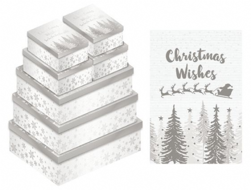 Silver / White Christmas Wishes Gift Box